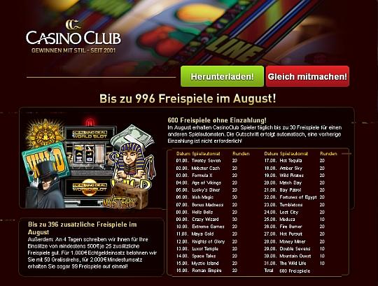 Freispiele im Casino Club