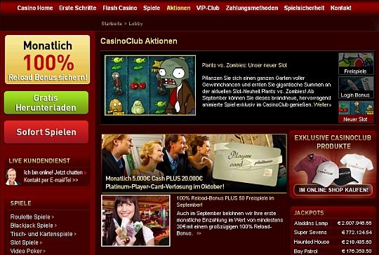 Casino Club fünf Euro geschenkt