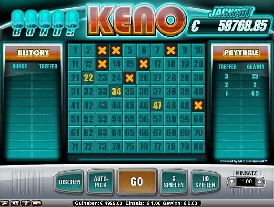Jackpot Keno online spielen