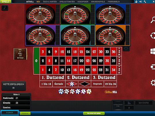 Multi Wheel Roulette im William Hill Casino
