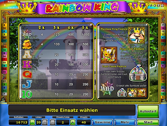 Rainbow King Gewinntabelle