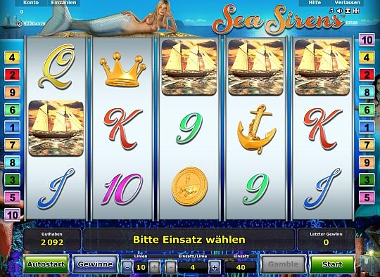 Novoline Spiel Sea Sirens bei Stargames